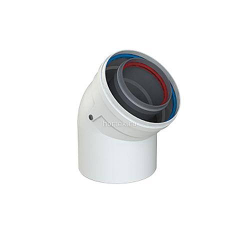 Коаксиальный дымоход, отвод 45 градусов Ø 60/100 Al/Al Cox Geelen