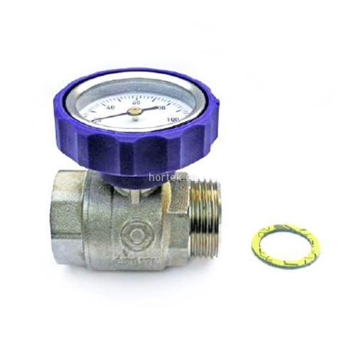 Синий шаровый кран со встроенным термометром HANSA