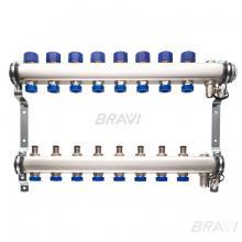 Коллектор с запорно-регулирующими и термостатическими клапанами